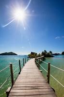 Sun over Likuliku Lagoon Resort, Malolo Island, Mamanucas, Fiji Fine Art Print