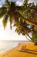 Beach Chairs, Matangi Private Island Resort, Fiji Fine Art Print