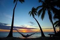 Hammock and sunset, Plantation Island Resort, Malolo Lailai Island, Mamanuca Islands, Fiji Fine Art Print