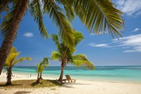 Beach, palm trees and lounger, Plantation Island Resort, Malolo Lailai Island, Mamanuca Islands, Fiji Fine Art Print