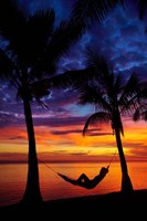 Woman in hammock, and palm trees at sunset, Coral Coast, Viti Levu, Fiji Fine Art Print
