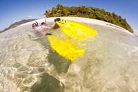 Couple snorkeling near Beqa Lagoon, Fiji Fine Art Print