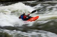 Kayaker plays in a hole in Tariffville Gorge, Farmington River in Tariffville, Connecticut Fine Art Print