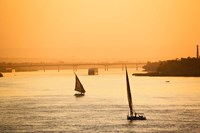 Pair of Falukas and Sightseers on Nile River, Luxor, Egypt Fine Art Print