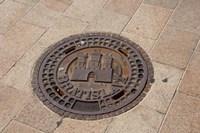 Slovakia, Bratislava, Manhole, coat of arms Fine Art Print