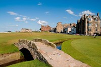 Golfing the Swilcan Bridge on the 18th Hole, St Andrews Golf Course, Scotland Framed Print