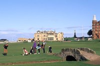 18th Hole and Fairway at Swilken Bridge Golf, St Andrews Golf Course, St Andrews, Scotland Fine Art Print