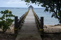 Long wooden pier, Coral Coast, Viti Levu, Fiji, South Pacific Fine Art Print
