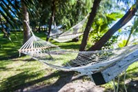 Hammock on the beach, Nacula island, Yasawa, Fiji, South Pacific Fine Art Print