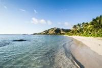 White sandy beach, Oarsman Bay, Yasawa, Fiji Fine Art Print