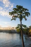 Sunset over the beach, Nacula island, Yasawa, Fiji, South Pacific Fine Art Print