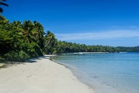 White sand beach and turquoise water, Nanuya Lailai Island, Blue Lagoon, Yasawa, Fiji, South Pacific Fine Art Print