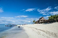 Beach restaurant on Beachcomber Island, Mamanucas Islands, Fiji, South Pacific Fine Art Print