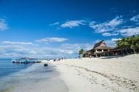 Beach restaurant on Beachcomber Island, Mamanucas Islands, Fiji, South Pacific Fine Art Print