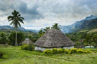 Traditional thatched roofed huts in Navala, Fiji, South Pacific Fine Art Print