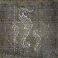 Seahorse Geometric Silver Fine Art Print