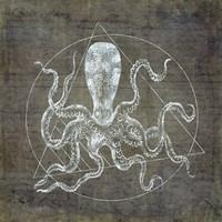 Octopus Geometric Silver Fine Art Print
