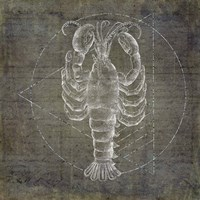 Lobster Geometric Silver Fine Art Print