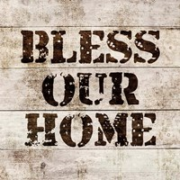 Bless Our Home In Wood Fine Art Print