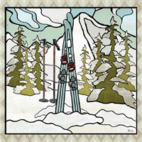Retro Snow Skis Fine Art Print