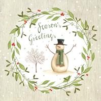Season's Greetings - Snowman Fine Art Print