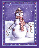 Holiday Snowman with Hat Fine Art Print