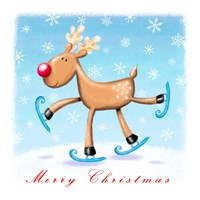 Merry Christmas - Skating Reindeer Fine Art Print