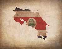 Map with Flag Overlay Costa Rica Fine Art Print