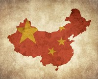 Map with Flag Overlay China Fine Art Print