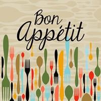 Bon Appetit Cutlery Beige Fine Art Print