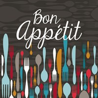 Bon Appetit Cutlery Grey Fine Art Print