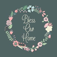 Bless Our Home Floral Teal Framed Print