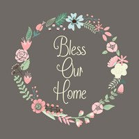 Bless Our Home Floral Brown Fine Art Print
