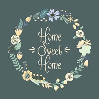 Home Sweet Home Floral Teal Fine Art Print