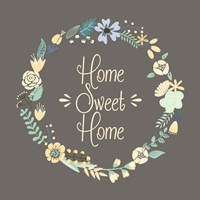 Home Sweet Home Floral Brown Fine Art Print