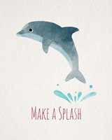 Make a Splash Dolphin White Fine Art Print