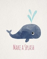 Make a Splash Whale White Framed Print