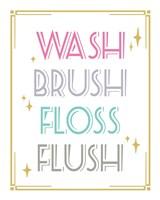 Wash Brush Floss Flush Shark Pink Part II Framed Print