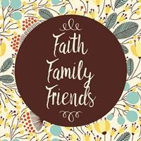 Faith Family Friends Retro Floral White Fine Art Print