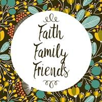 Faith Family Friends Retro Floral Black Fine Art Print