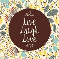 Live Laugh Love Retro Floral White Fine Art Print
