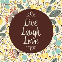 Live Laugh Love Retro Floral White Fine Art Print