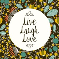 Live Laugh Love Retro Floral Black Fine Art Print