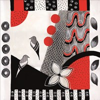 Flower Deco Black and Red I Fine Art Print
