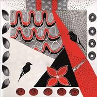 Flower Deco Black and Red II Fine Art Print