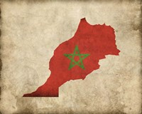 Map with Flag Overlay Morocco Fine Art Print