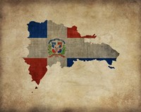 Map with Flag Overlay Dominican Republic Fine Art Print