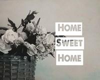 Home Sweet Home Flower Basket Black and White Fine Art Print