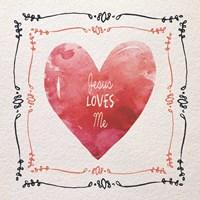 Watercolor Heart Jesus Loves Me Fine Art Print