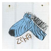 Happy Blue Zebra Fine Art Print